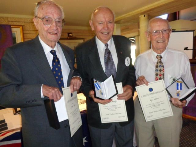 Past Presidents John, Noel and Ron with their awards.